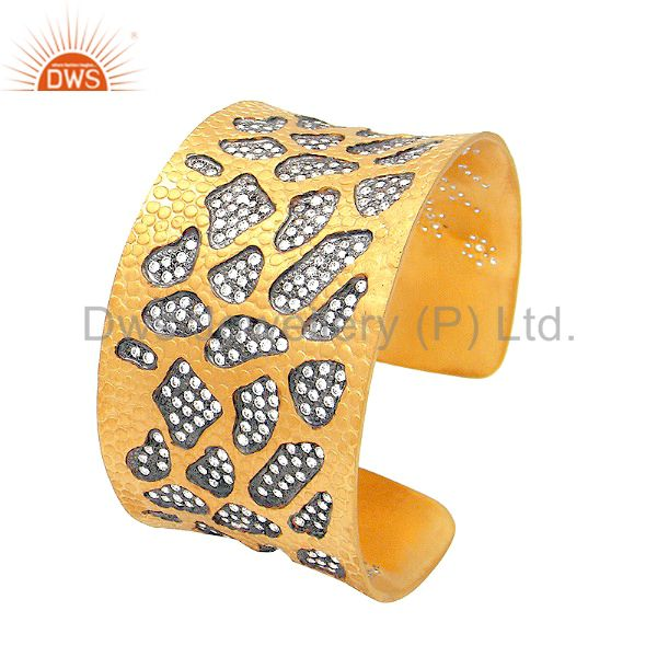 22K Yellow Gold Plated Sterling Silver Cubic Zirconia Designer Cuff Bracelet