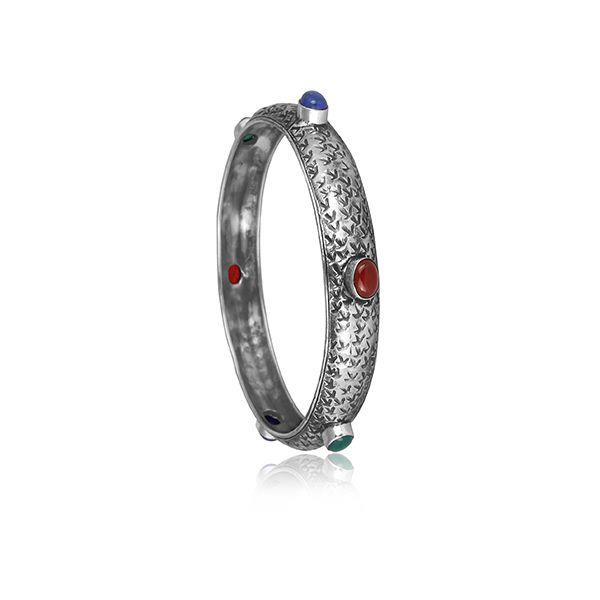 Lapis, Green And Red Onyx Set Gold On Sterling Silver Bangle