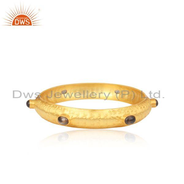 Handmade Smoky Cabushion Gold On 925 Silver Ethnic Bangle