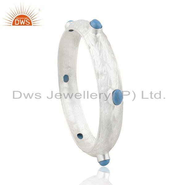 Handmade 925 Sterling Fine Silver Turquoise Gemstone Bangle Manufacturer india