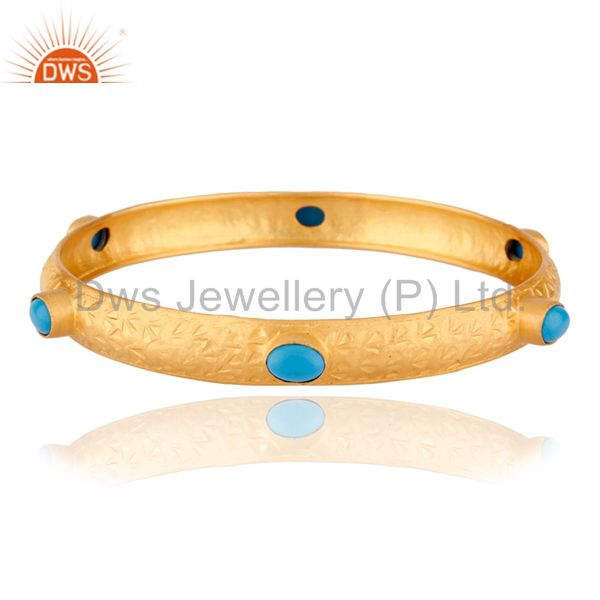 18K Yellow Gold Plated Sterling Silver Turquoise Gemstone Bangle Bracelet
