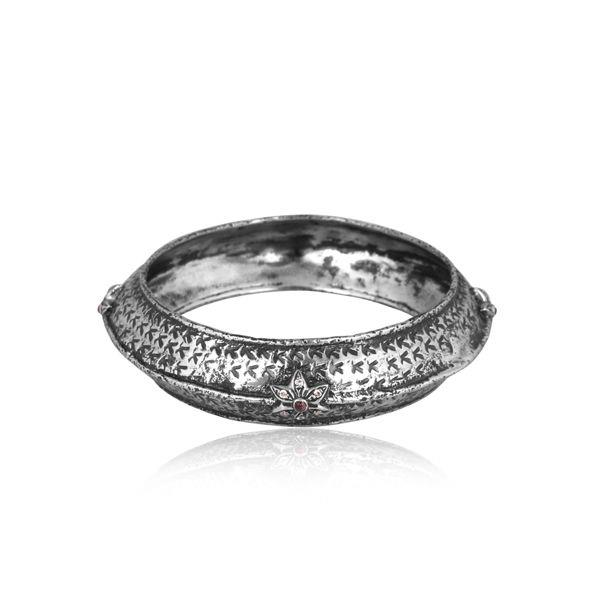 Hydro pink and cz set oxidized 925 silver traditional bangle