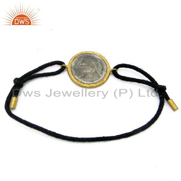 24K Gold Plated And Oxidized Sterling Silver Vintage Coin Black Cord Bracelet