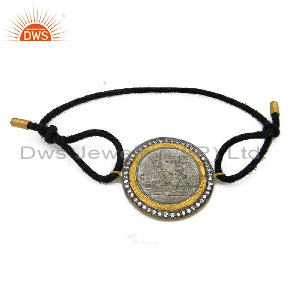 24K Gold Plated And Oxidized Sterling Silver CZ Vintage Coin Black Cord Bracelet