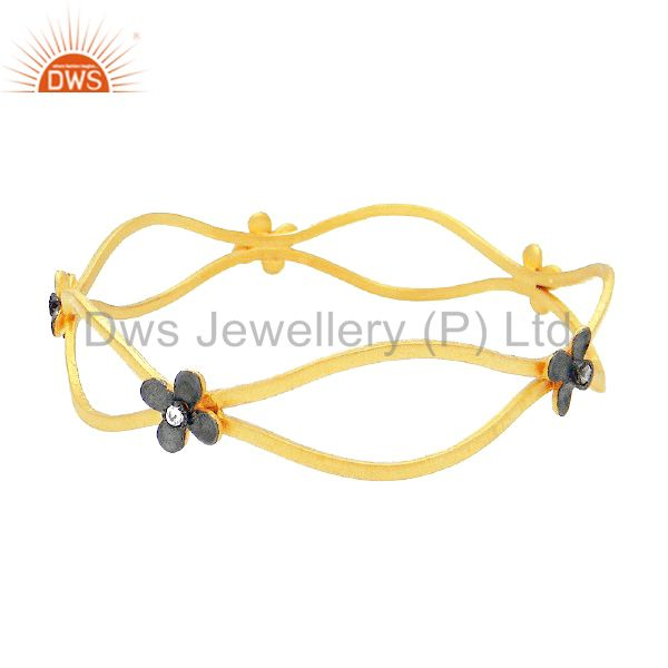 24K Yellow Gold Plated Sterling Silver Cubic Zirconia Flower Designer Bangle