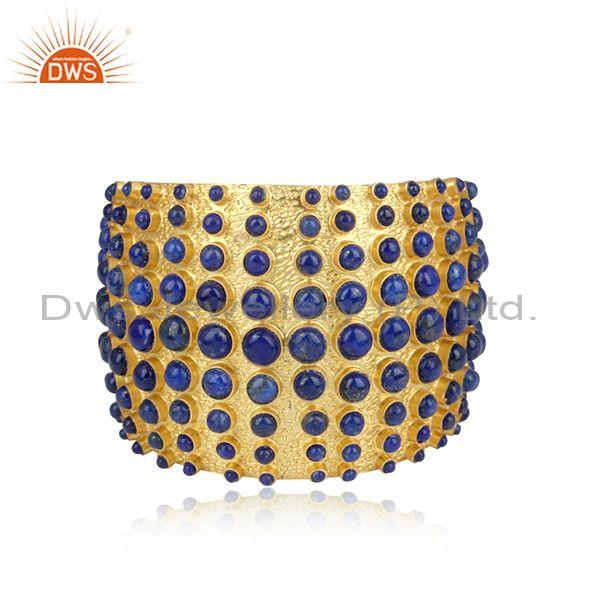 Handmade Lapis Set Gold On Sterling Silver Statement Cuff