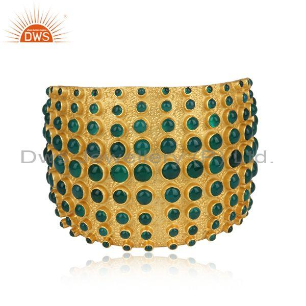 Handmade Green Onyx Set Gold On 925 Silver Cuff Bangle