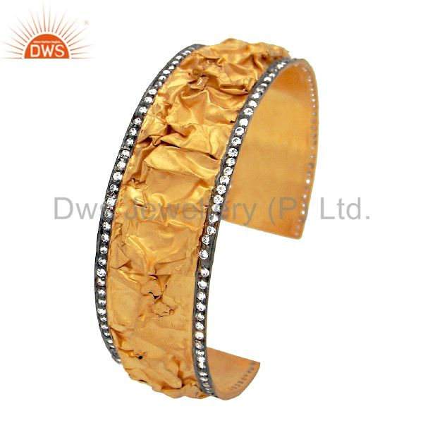 22K Yellow Gold Plated Sterling Silver Cubic Zirconia Cuff Bracelet Wide Bangle