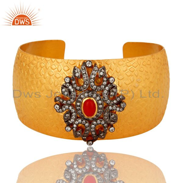 Red Coral And Cubic Zirconia 24 Gold Plated Brass Cuff Bracelet / Wide Bangle