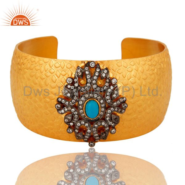 24K Yellow Gold Plated Brass Textured Cuff Bracelet With Turquoise And CZ