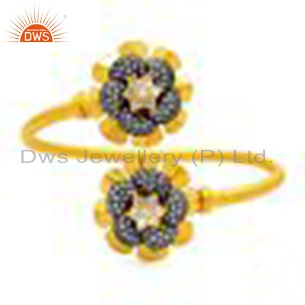18K Yellow Gold Plated Brass Cubic Zirconia Flower Adjustable Stack Bangle