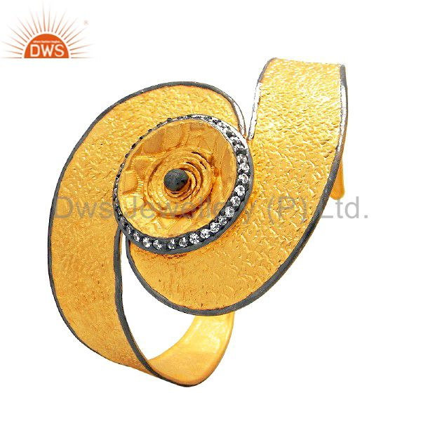 22k yellow gold plated sterling silver cz textured designer wide cuff bracelet