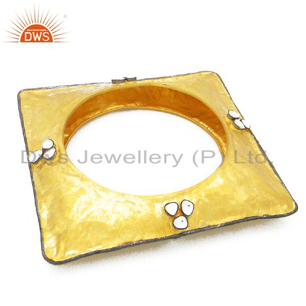 22k yellow gold plated brass square design bangle with cz polki