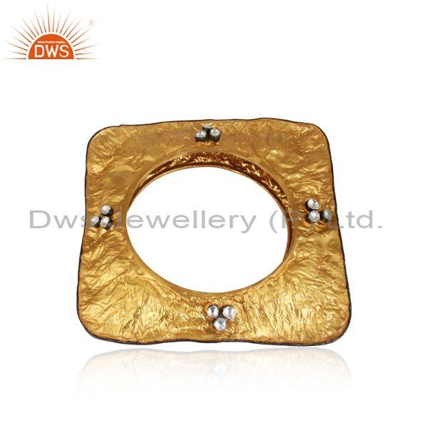 22k yellow gold plated sterling silver crystal polki square bangle bracelet