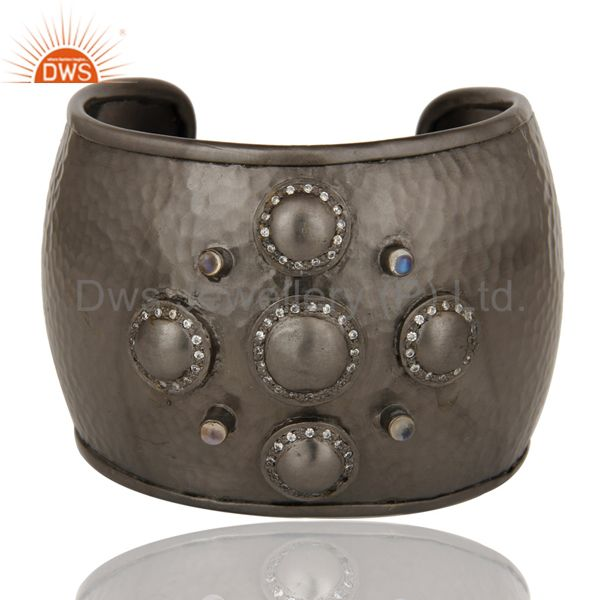 Black Oxidized Moonstone & Zircon Handcrafted Cuff Bracelet Wide Bangle