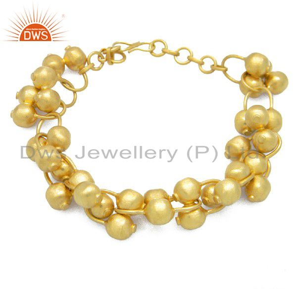 18K Yellow Gold Plated Sterling Silver Ball Chain Designer Bracelet Jewelry