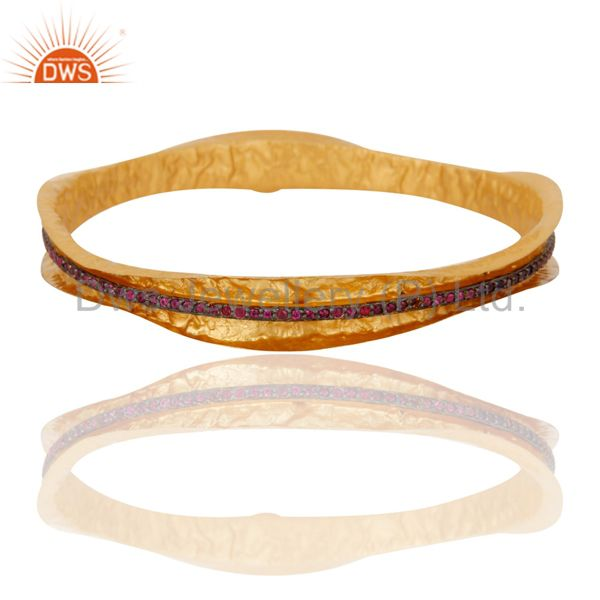 18k yellow gold plated silver 925 red cubic zirconia handmade bangle