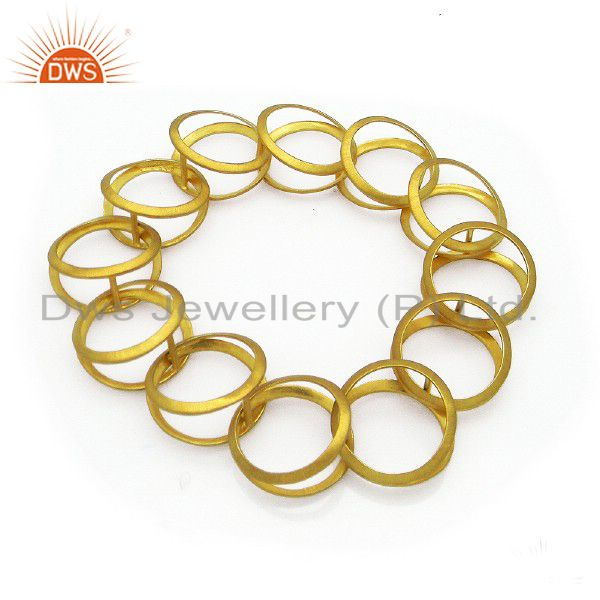 24K Yellow Gold Plated Sterling Silver Link Chain Designer Cuff Bracelet