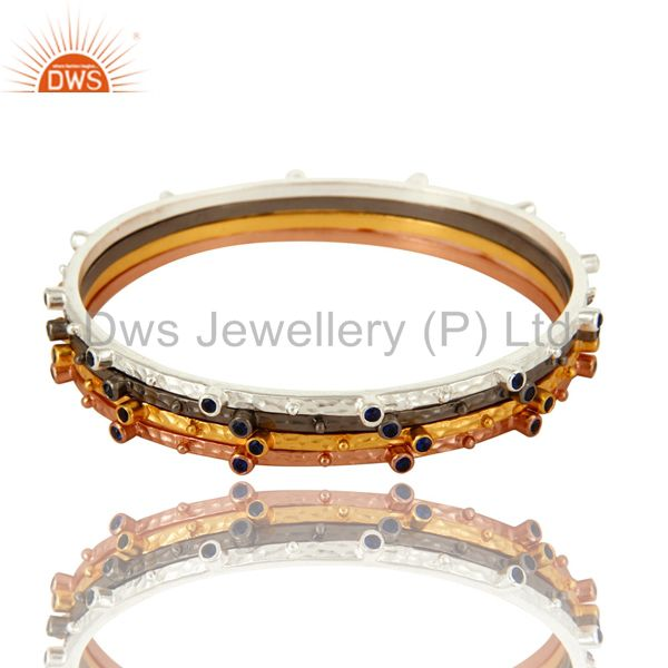 18k yellow gold brass sapphire blue cz fashion bangle set 3 piece