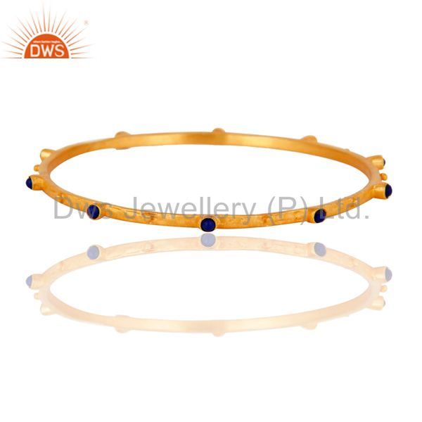 Natural Lapis Lazuli Gemstone Sterling SIlver Matte Finish Gold Plated Wedding