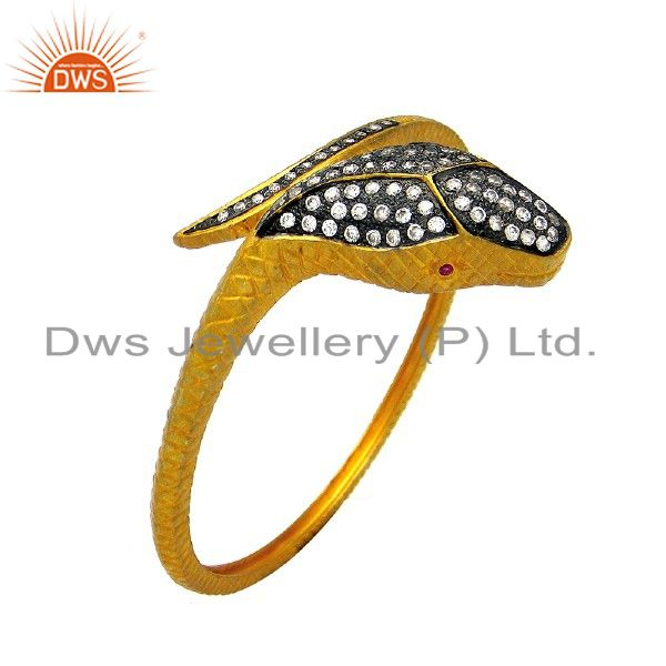 18K Yellow Gold Plated Brass Cubic Zirconia Vintage Snake Bangle Jewelry