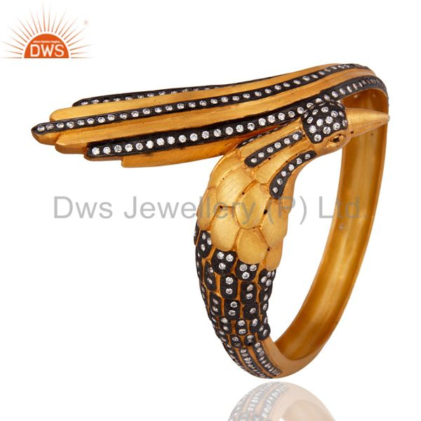 24k gold plated solid sterling silver cubic zirconia designer bangle