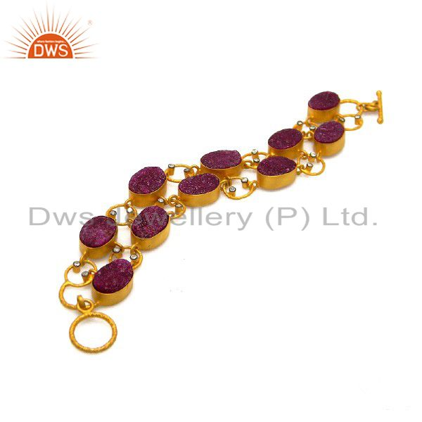 Handmade Sterling Silver Dyed Ruby And CZ Fashion Bracelet With 18K Gold Plated