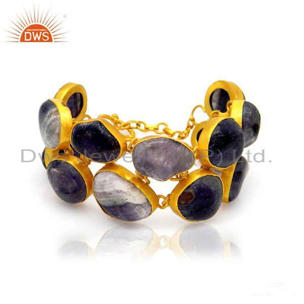 Handmade sterling silver amethyst gemstone bracelet with 18k gold plated