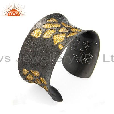 24k yellow gold plated and oxidized sterling silver cz cuff bracelet bangle
