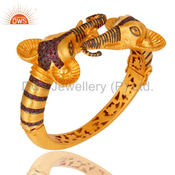 18k gold plated 925 silver natural ruby openable elephant bangle