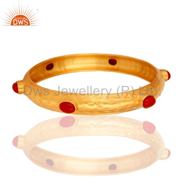 Handmade Red Coral Sterling Silver Bangle / Bracelet Jewelry With Gold Plated