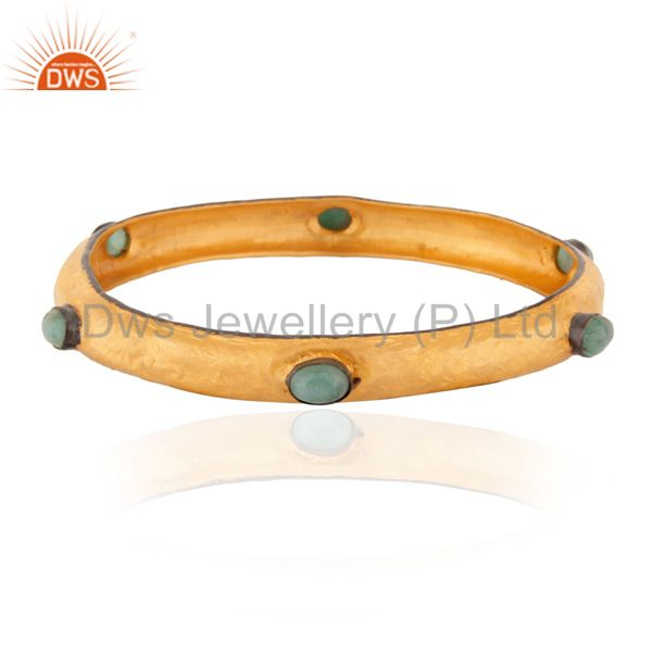 Solid 925 silver bangle 18k gold plated hammered emerald bangle