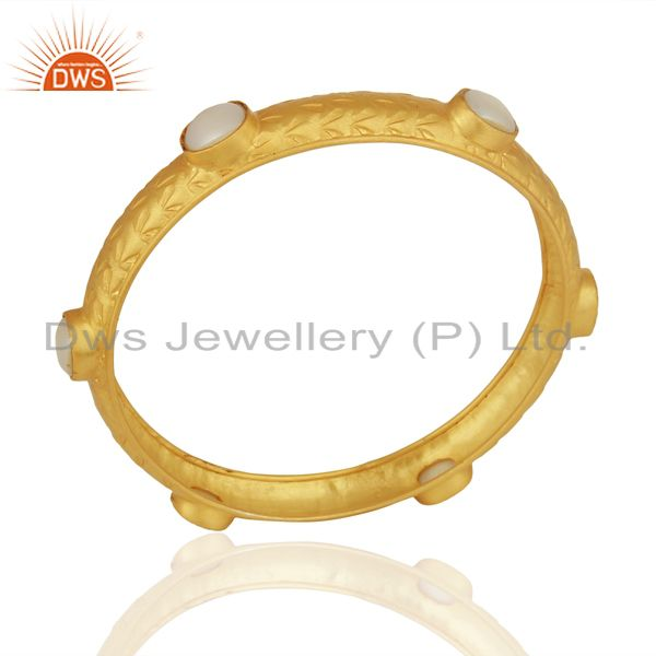 Natural Pearl  Gemstone Gold Plated 925 Silver Bangle Manufacturer