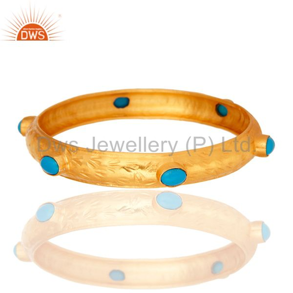 925 sterling silver yellow gold plated turquoise gemstone bangle