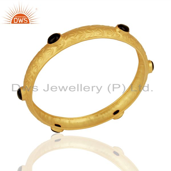 Gold plated silver natural black onyx gemstone bangle girls jewelry