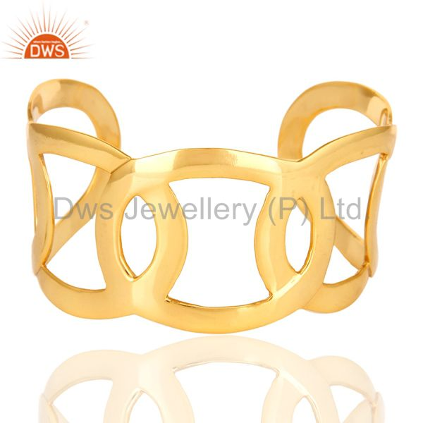 Shiny Polished Wide Bangle Cuff Bracelet in 14k Yellow Gold Over Brass Jewelry