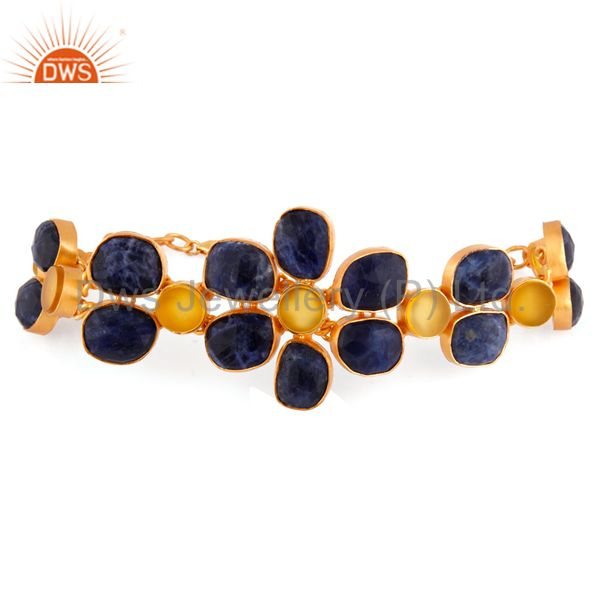 Dyed Blue Sapphire 925 Sterling Silver 18k Gold Plated Yellow Onyx Bracelets