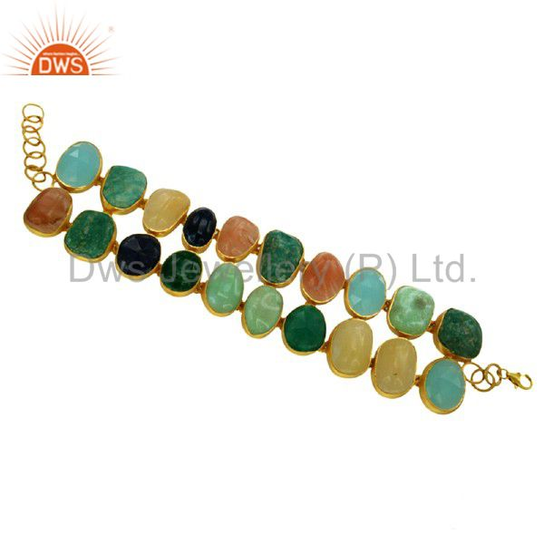 Handmade mix colored gemstone bezel set sterling silver bracelet with gold plate