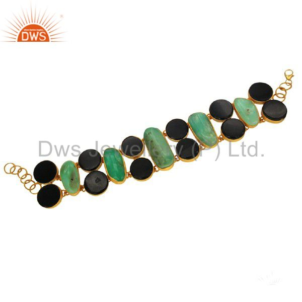 Handmade sterling silver chrysoprase and black onyx bracelet with gold plated