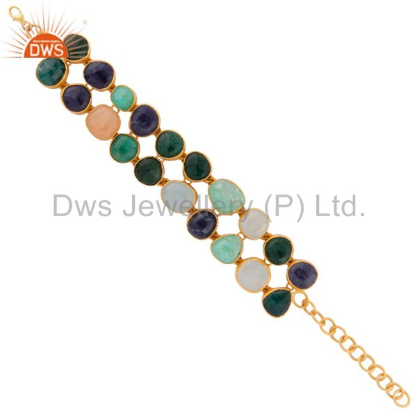 24k yellow gold plated sterling silver double row multi color semi precious sto