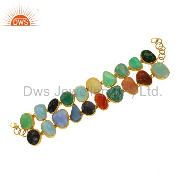 Multi colored gemstone bracelet handcrafted sterling silver with gold plated