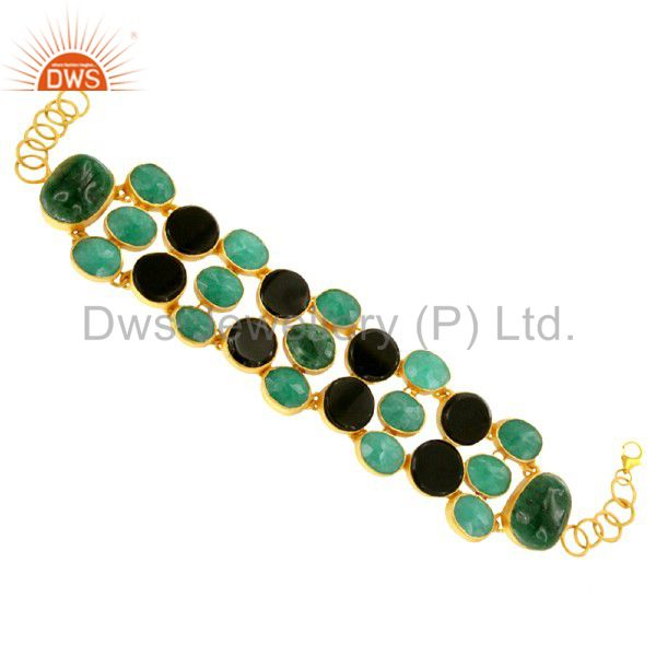 18K Gold Plated Sterling Silver Green Aventurine & Black Onyx Gemstone Bracelet