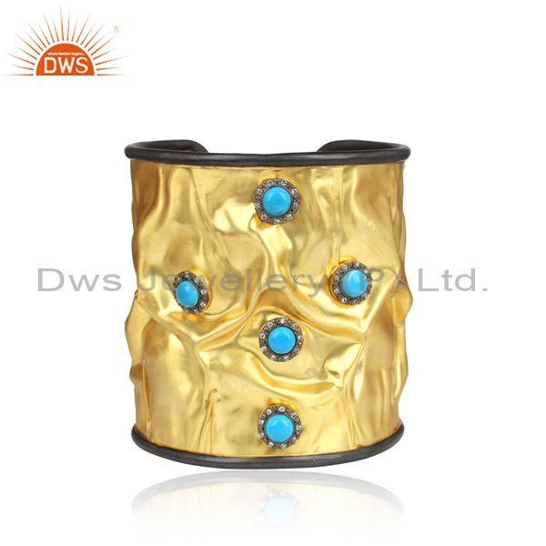 Hammered design gold plated silver cz turquoise cuff bangle