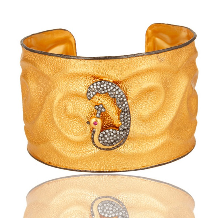 Satin Finish 22k Yellow Gold Plated Peacock Cuff Bracelet Bangle With CZ