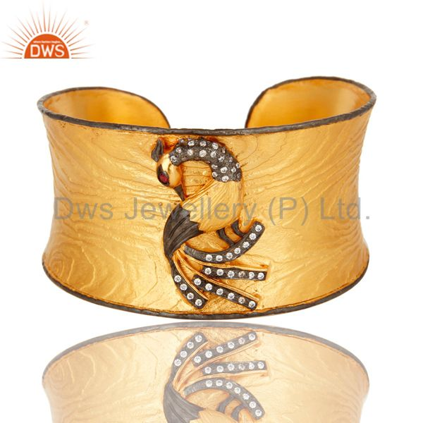 Matte Finish 24k Yellow Gold Plated Peacock Wide Cuff Bangle Jewelry With CZ