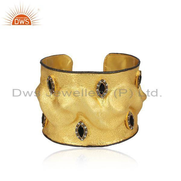 Handmade Gold On 925 Silver CZ Black Onyx Designer Cuff Bangle