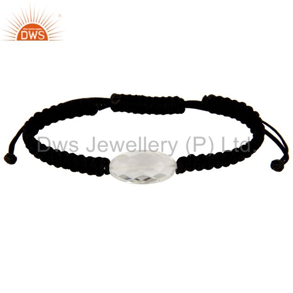 Natural Crystal Quartz Black Cord Macrame Adjustable Bracelet