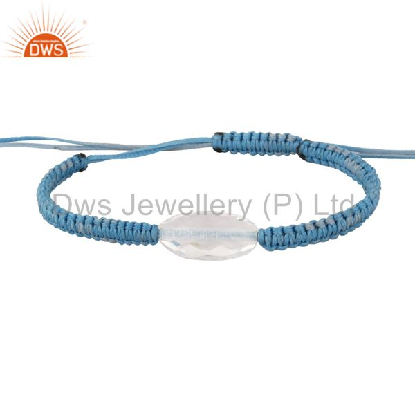 Natural Clear Crystal Quartz Handmade Sky Blue Cord Macrame Slider Bracelet