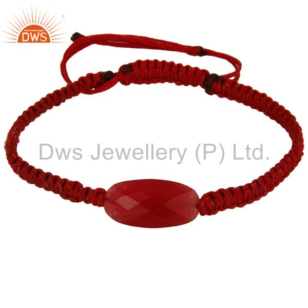 Natural Faceted Red Aventurine Gemstone Macrame Bracelet Gift Jewelry For Women