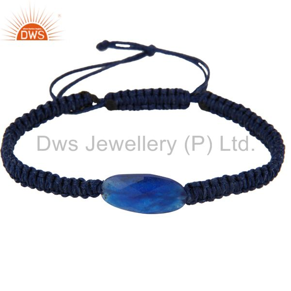 Gorgeous blue aventurine shamballa fashion macrame bracelet jewelry for unisex